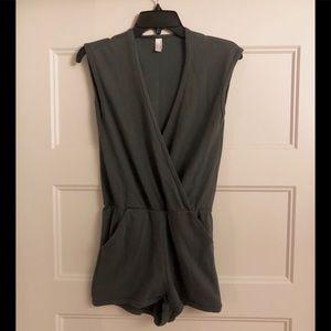 Romper Jumpsuit Shorts w/ Pockets in Slate Grey